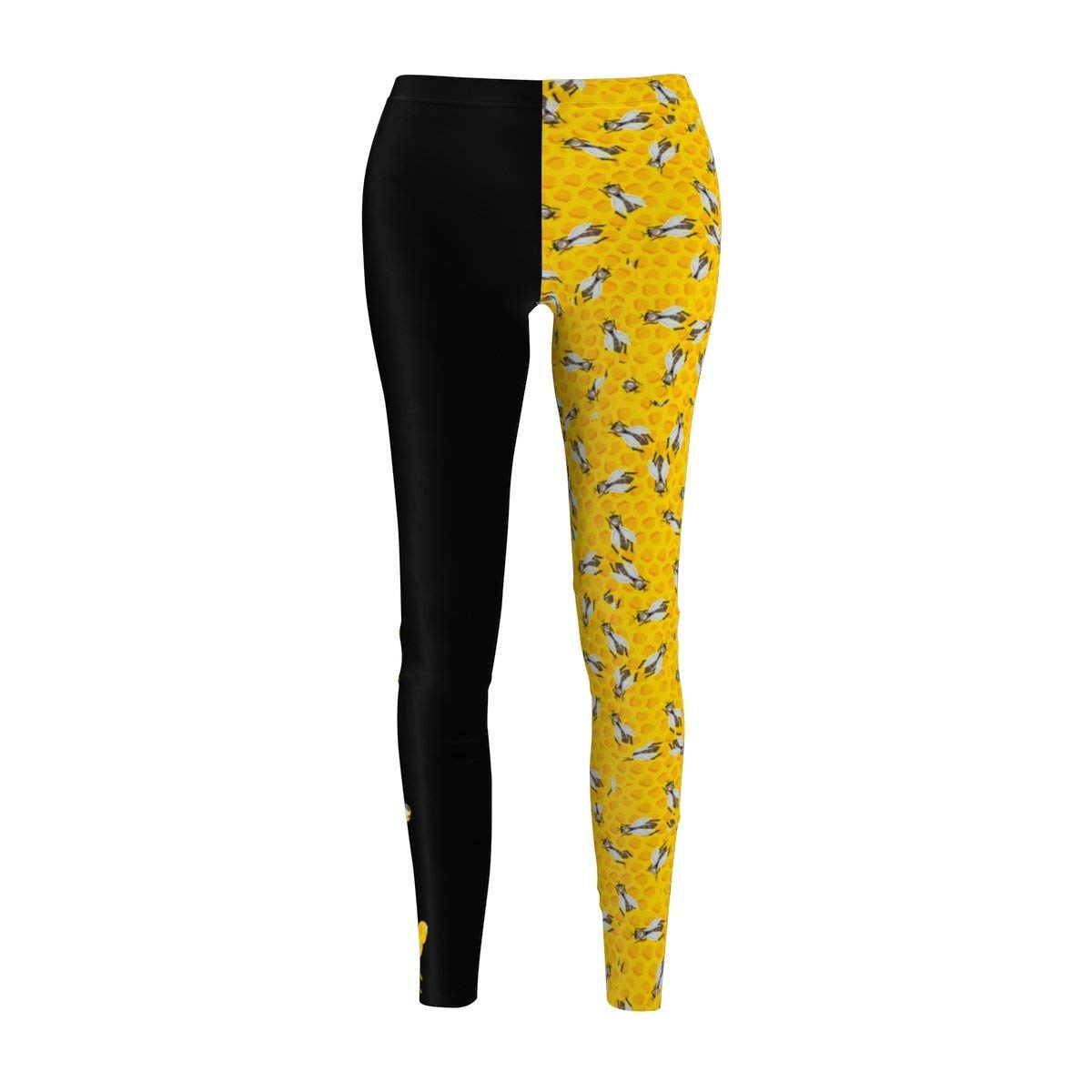Fine Vintage Life Bey Hive Honey Comb Slay ONTRII Women's All Over Leggings - Two Tone Black by Fine Vintage Life (Image #2)