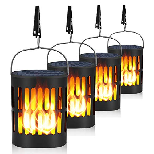 Ollivage Solar Flame Touch Lights Dancing Flame Outdoor Hanging Lanterns Lights Solar Landscape Decoration Lights with USB Charging Night Light Dusk to Dawn for Garden, 4 Pack