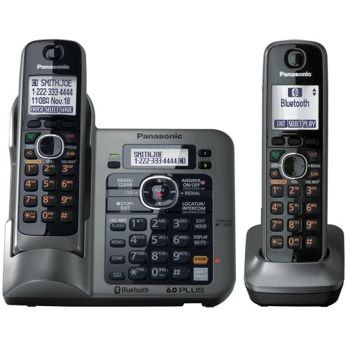 Panasonic KX-TG7642M DECT 6.0 Link-to-Cell via Bluetooth Cordless Phone with Answering System - 2 Handsets - Metallic -