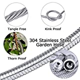 TheFitLife Stainless Steel Metal Garden Hose 304 Stainless Steel Water Hose with Solid Metal Fittings and Newest Spray Nozzle, Lightweight, Kink Free, Durable and Easy to Store 100 Feet
