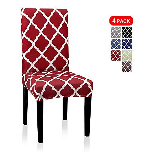 Dining Chair Covers, Geometric Print Dining Chair Slipcovers, Removable Washable Stretch Furniture Protector for Kitchen Room Hotel Table Banquet (4 Per Set, Wine Red) (High Leather Dining Chair Back)