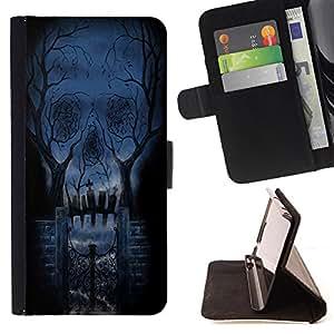 King Art - Premium-PU-Leder-Prima caja de la PU billetera de cuero con ranuras para tarjetas, efectivo Compartimiento desmontable y correa para la mu?eca FOR Sony Xperia Z2 L50t L50W L50U- Skull Devil Pattern Sugar Skull Skulls