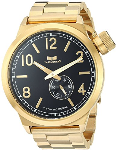 Vestal 'Canteen Metal' Quartz Stainless Steel Dress Watch, Color:Gold-Toned (Model: CTN3M08)