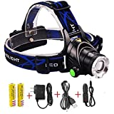 Brightest and Best Zoomable 3 Modes Super Bright LED Headlamp 2200 Lumens with Rechargeable Batteries, Car Charger, Wall Charger and USB Cable Headlamp Headlight for Camping Hunting Outdoor Sports