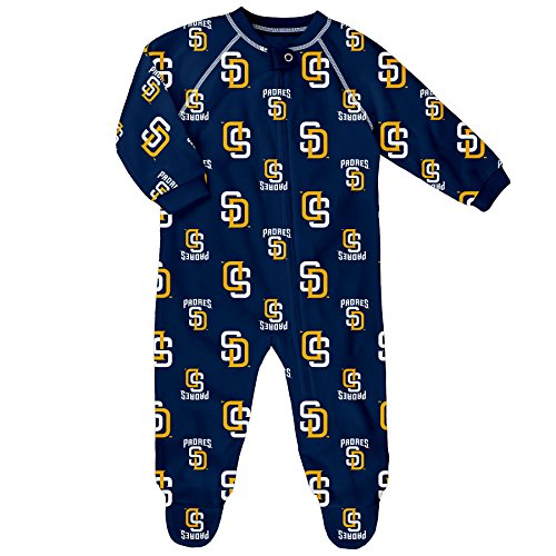 MLB Infant Padres Sleepwear All Over Print Zip Up Coverall, 12 Months, Athletic Navy