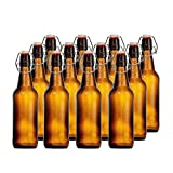 CASE OF 12 GLASS SWING TOP BOTTLES - 16 OZ.- AMBER - FREE Cleaning Brush Included!