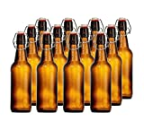 CASE OF 12 GLASS SWING TOP BOTTLES - 16 OZ.- AMBER - FREE Cleaning Brush ...