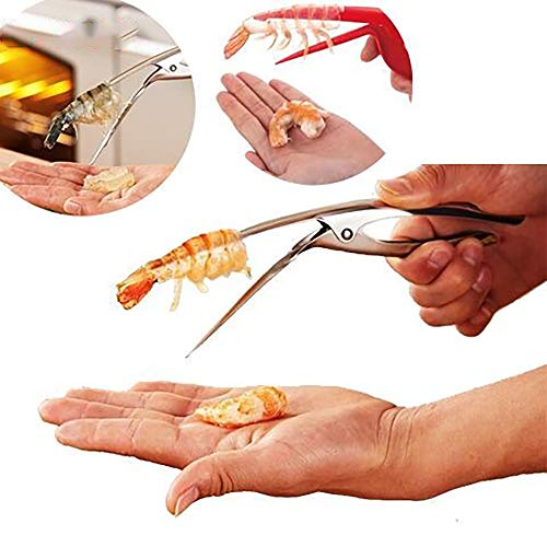 Shrimp Deveiner Tool Shrimp Cleaner Knife Premium Stainless Steel with Wooden Slip Handle Prawn Peeler Kitchen Tools (Stainless Steel)
