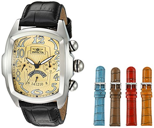 Lupah Leather (Invicta Men's 'Lupah' Quartz Stainless Steel and Leather Casual Watch, Color:Black (Model: 23208))