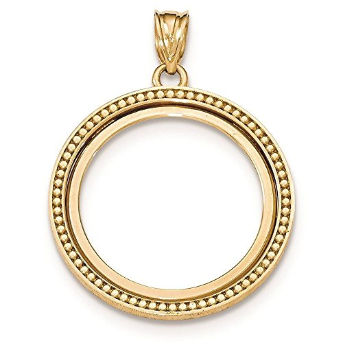 14K Yellow Gold Polished Beaded Prong Set Bezel Coin Holder for 1/4 oz Panda Coin ()