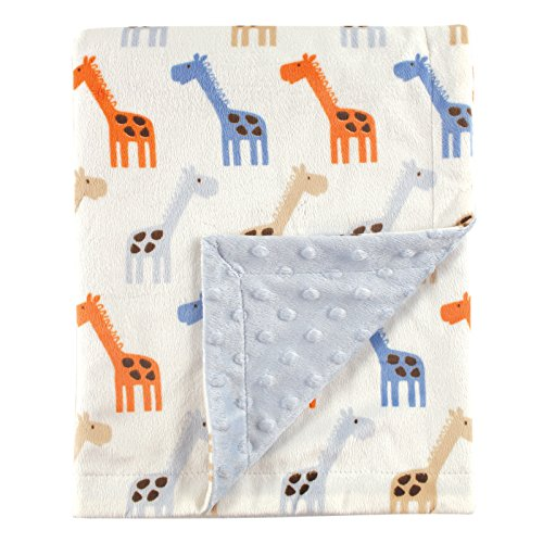 (Hudson Baby Printed Mink Blanket with Dotted Backing, Blue Giraffe)