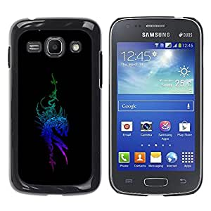 COVERO Samsung Galaxy Ace 3 GT-S7270 GT-S7275 GT-S7272 / Tribal Blue Dragon / Prima Delgada SLIM Casa Carcasa Funda Case Bandera Cover Armor Shell PC / Aliminium