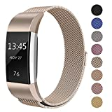 "Swees For Fitbit Charge 2 Bands Metal Small & Large (6.1"" - 9.9""), Milanese Stainless Steel Magnetic Replacement Wristband for Fitbit Charge 2 Women Men,Champagne"