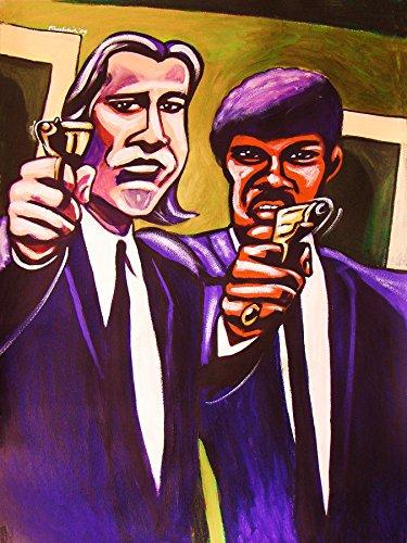 Pulp Fiction Print Poster Man Cave Art Quentin Tarantino Movie John Travolta Dvd Blu Ray Disc Samuel L  Jackson Colt 45