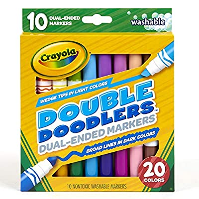 Crayola Dual-Tip Washable Markers, Broad Line & Chisel Tip, 10 Count: Toys & Games