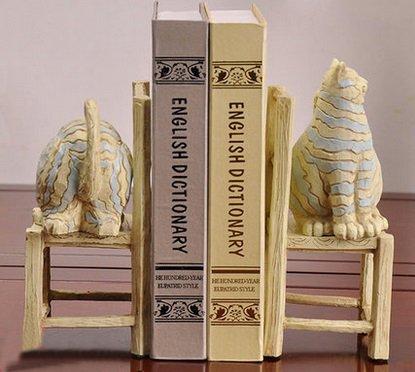 Sujetalibros originales baratos manualidades Estante para libros gatos Sillas