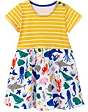 WRHJZW Kids Girls Cotton Dress Short Sleeves Casual Summer Cartoon Ocean Shark Print Dress, 11# Yellowstripeocean, 5T