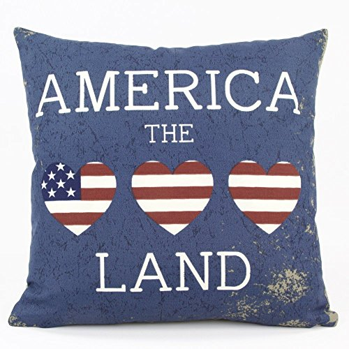 "I Love America USA Stars & Hearts Outdoor Decorative Handmade Pillow Cover, 18x18"", Reversible, Red White & Blue, Chloe & Olive"