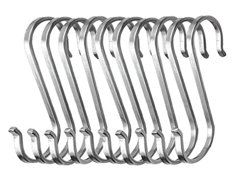 70%OFF WZT 10-Pack Size Large Flat S Hooks Heavy-Duty Genuine Solid Stainless Steel S Shaped Hanging Hooks,Kitchen Spoon Pan Pot Hanging Hooks Hangers Multiple uses.