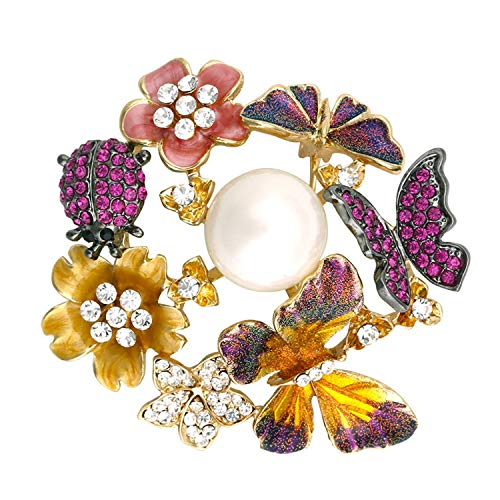 HARRISON MCLEAN Fashion Butterflies Flower Brooches for Women Elegant Crystal Pearl Enamel Pin Insect Brooch Jewelry,Light Yellow Gold