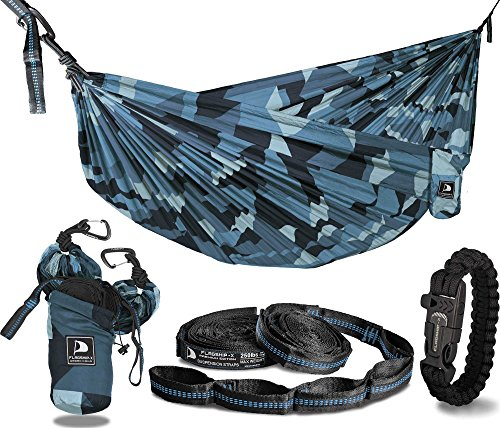 Flagship-X Urban Camo Double 2 Person Camping Hammock Packable for Backpacking - Blue Camouflage