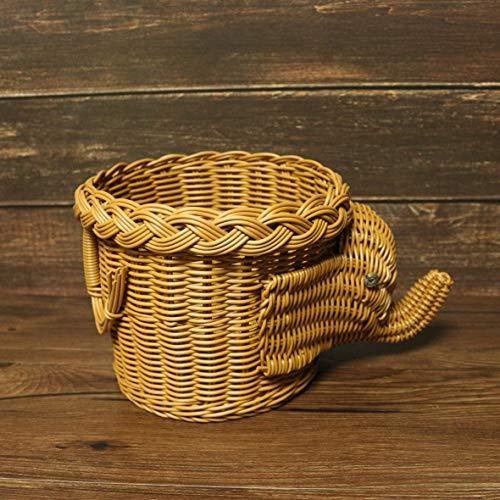 CVHOMEDECO. Elephant Design Imitation Rattan Fruit Basket Bread Basket Storage Basket Resin Wicker Artificial Plant Holder. Light Brown, 11-1/2''L by CVHOMEDECO. (Image #4)