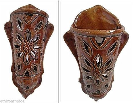 Lampada lanterna applique da muro ceramica terracotta marocco etnico
