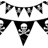 Pirate Skull Crossbones Bunting Flags Party Decoration - 12Ft - Kids Happy birthday party pirates of the Caribbean accessory theme Special Occasion (1 Set of Flags) by Good Deals Online