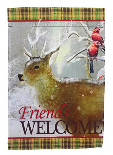 - Winter Garden Flag 12 inches by 18 inches Double Sided Reads Correctly Both Sides (Friends Welcome Deer)