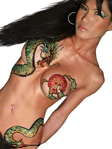 Dragon Body Temporary BODY ART Asian Dragon Tattoo Xotic Eyes by Summitfashions