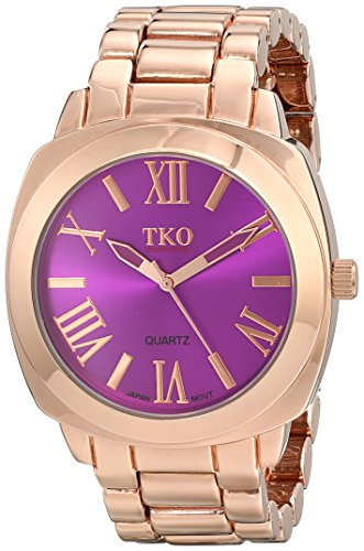 TKO ORLOGI Women's Big Purple Face Rose Gold Boyfriend Oversized Watch (Oversized Runway Watch)