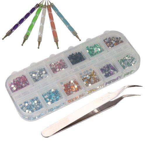 3000pcs 2mm 12 Color Nail Art Glitter Rhinestones Tips + 5 x 2 Way Marbleizing Dotting Pen + Tweezer (Glitter X 12)