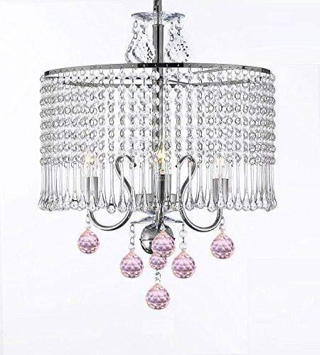 (Contemporary 3-light Crystal Chandelier Chandeliers Lighting With Crystal Shade and Pink Crystal Balls! W 16