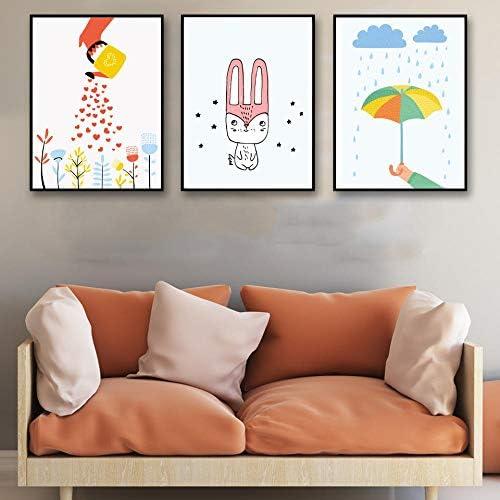 漫画家の装飾花傘ウサギキャンバスアートポスター絵画現代写真-40×50センチ×3ピースフレームなし