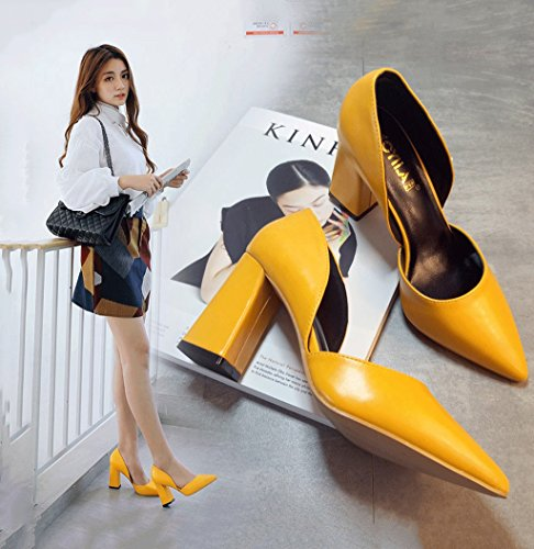 Shoes Yellow 8 Fashion Mouth Chunky Heels Heel Shallow Female High Retro 5cm Yellow Sandals Color 36 Size Hollow xzw7OqUqnZ