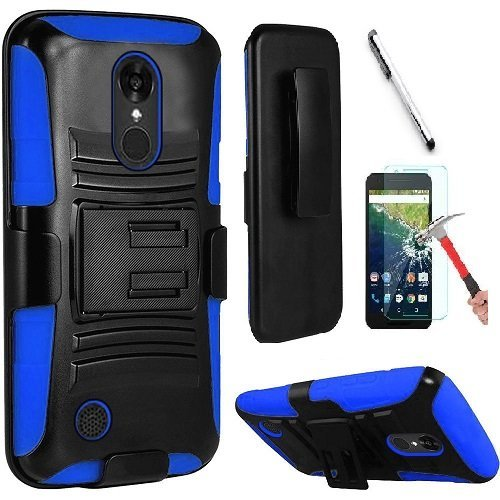 LG Aristo 2 X210 / LG Tribute Dynasty / LG REBEL 3 LTE (L157BL) Case, Luckiefind Dual Layer Hybrid Side Kickstand Cover Case With Holster Clip, Stylus Pen Accessories (Holster (Faceplate Cover Case Blue Clip)
