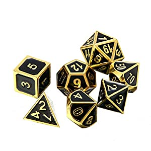 ifergoo DND Metal Dice, 7 Die Polyhedral Game Dice with Metal Storage Box, Punches and 2 Pencils for Role Playing Game Dungeons and Dragons Pathfinder Shadowrun