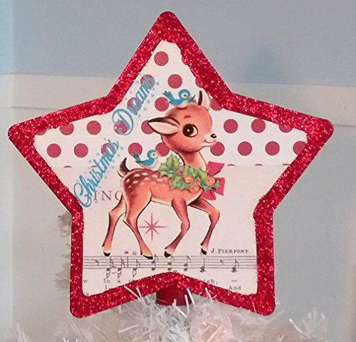 - Handmade Vintage Inspired Retro Reindeer Christmas Tree Topper