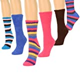 Women's Fuzzy Socks Assorted 6-Pack Sizes: 9-11 (3 Pairs Solid, 3 Pairs Striped)