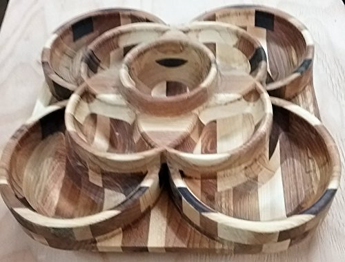 Custom Wood 3-Tier 9-tray Rotating Serving Platter/Snack Tray
