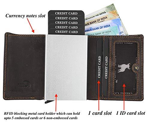 35c23cadb6 HIDE & SKIN Unisex Leather RFID Blocking Card Holder Cum TRI-FOLD Wallet(SK  Dark Brown)