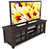 Sonax B-098-BAT Arbutus 63-Inch Wood Veneer TV Bench, Dark Espresso For Sale