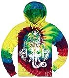 Mens Big Ganesha Head Tie Dye Hoodie, Large Michaelangelo
