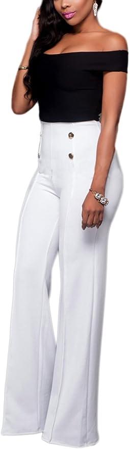 Suvotimo Women Elegant High Waist Office Party Clubwear Jumper Wide Leg Pants