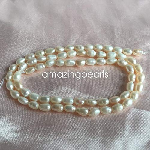 FidgetFidget White Oval or Rice Cultured Freshwater Pearls Loose Beads Various Sizes 15