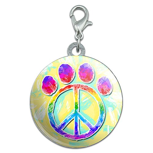 - Paw Print Peace Sign Stainless Steel Pet Dog ID Tag