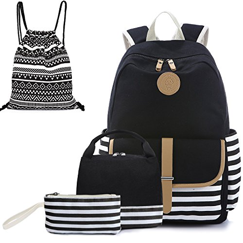 Canvas Backpack Cute Lightweight Teen Girls Backpacks School Lunch Bag Backpack Set (Black-3)