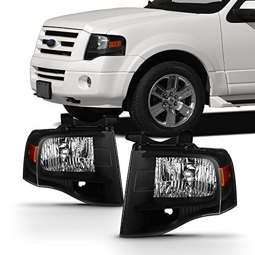 For 2007-2014 Ford Expedition Black Bezel Headlight Assembly Left+Right Pair