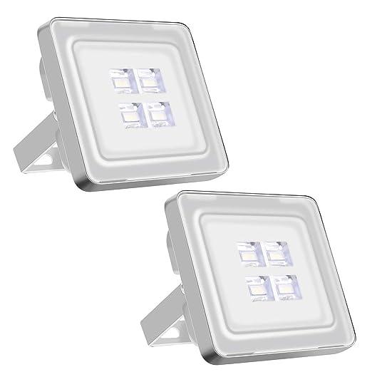 Viugreum Focos LED Exterior 2 Pack 10W, Proyector Reflector de Pared 1200LM 6500K,Iluminación Exterior IP65 Resistente al agua [Clase de eficiencia ...
