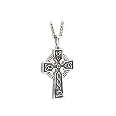 St patricks day mens cross necklace silver 2 sided 20 chain made st patricks day mens cross necklace silver 2 sided 20 chain made in ireland amazon aloadofball Images